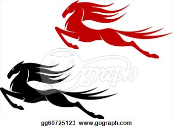 Clip Art   Fast Jumping Horse For Equestrian Sports Design  Stock