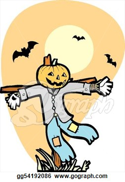 Clip Art   Halloween Scarecrow In Autumnal Field With Bats   Stock
