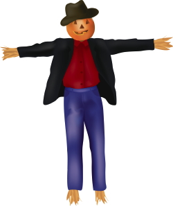 Clip Art Of A Straw Scarecrow With A Jack O Lantern Pumpkin Head