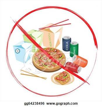 Clip Art   On Eat Sweet Drinks And Fast Food  Stock Illustration