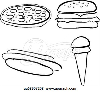 Clip Art Vector   Doodle Fast Food  Stock Eps Gg58907208   Gograph
