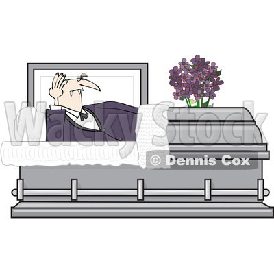 Clipart Vampire Rising In A Coffin Casket   Royalty Free Vector