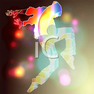Colorful Cartoon Of A Hip Hop Dancer Dancing In Bright Lights