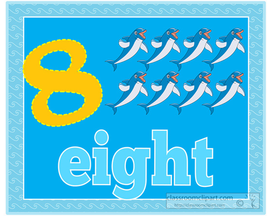 Counting Numbers Eight Dolphins 5 Jpg