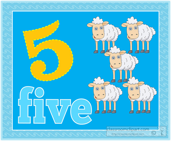Counting Numbers Five Sheep Jpg