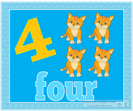 Counting Numbers Four Kittens 4 Jpg
