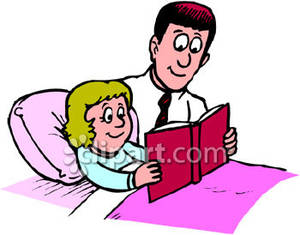 Dad Reading A Book To His Daughter   Royalty Free Clipart Picture