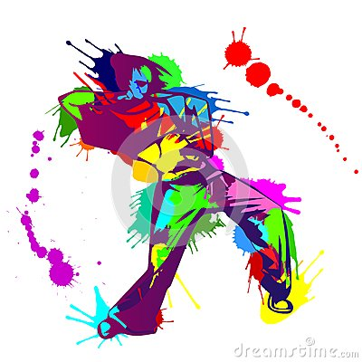 Girl Hip Hop Dancer With Colorful Paint Splashes Stock Vector   Image