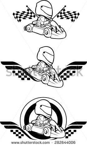 Go Cart Carting Racing Race Karts   Stock Vector