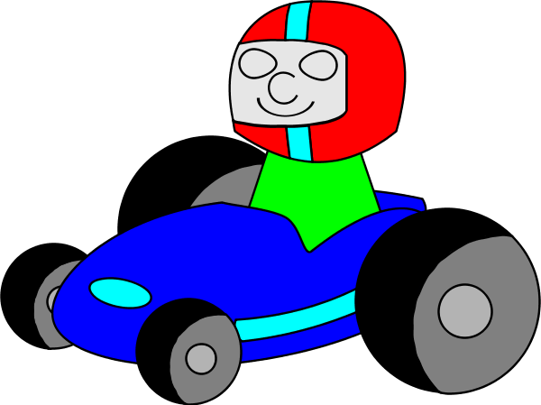 Man Racing Car Cartoon   Vector Clip Art