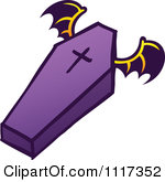 Of A Halloween Flying Vampire Coffin Royalty Free Vector Clipart