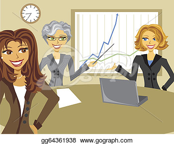 Of Cartoon Business Women Meeting With Charts  Clipart Gg64361938