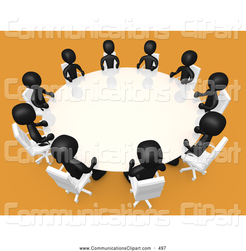 Round White Conference Table In A Room With Yellow Or Orange Carpet