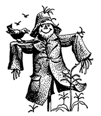 Scarecrow Wearing Gloves And A Hat Royalty Free Clipart Picture
