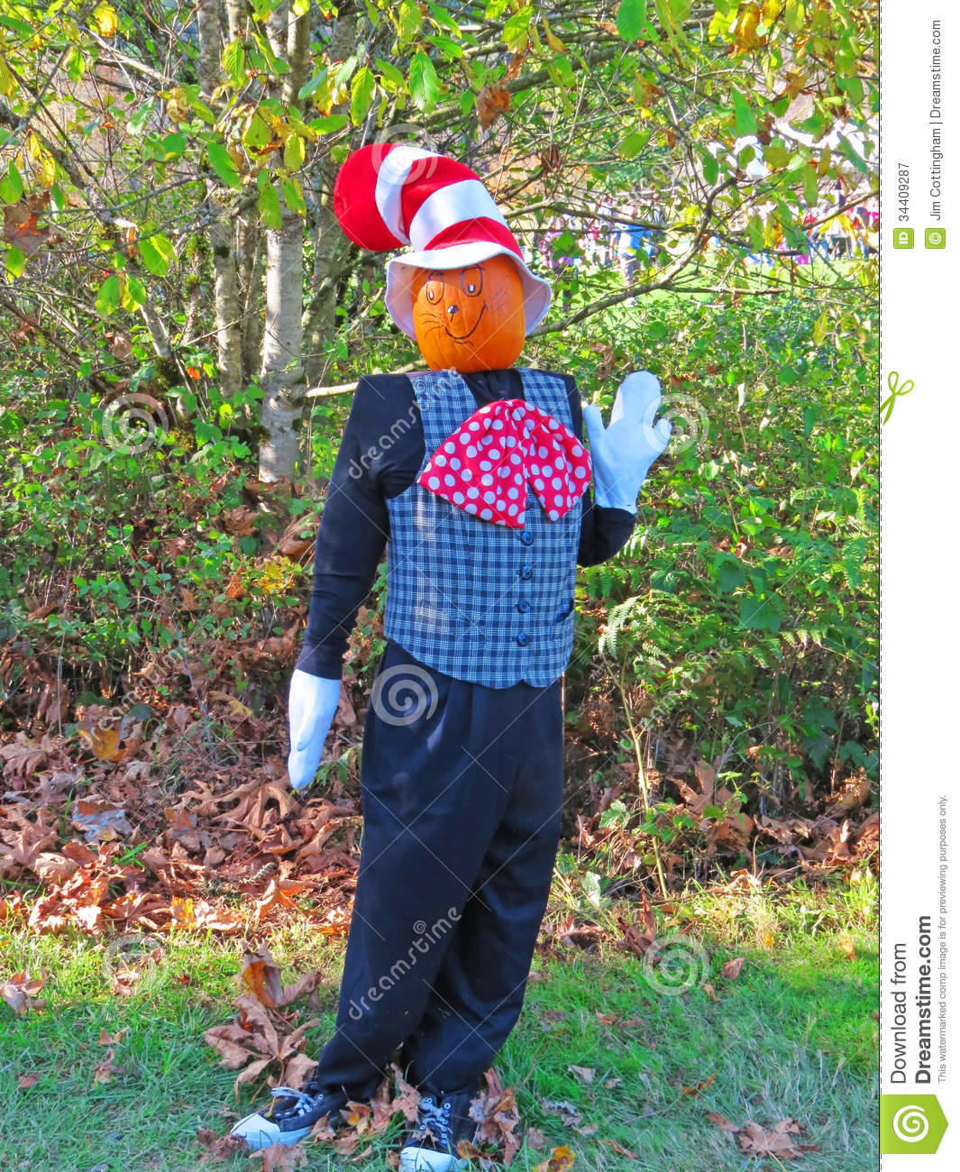 Scarecrow With A Checkered Vest Polka Dot Bow Tie White Gloves