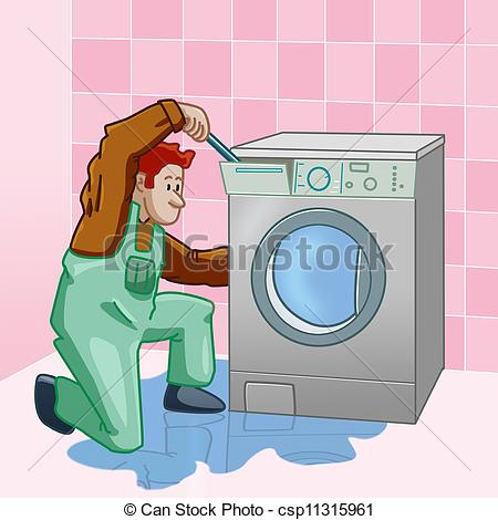Stock Illustration Of Washing Machine Repairer   Technician Who Is