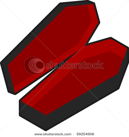 Vampire Coffin   Vector Clipart Illustration