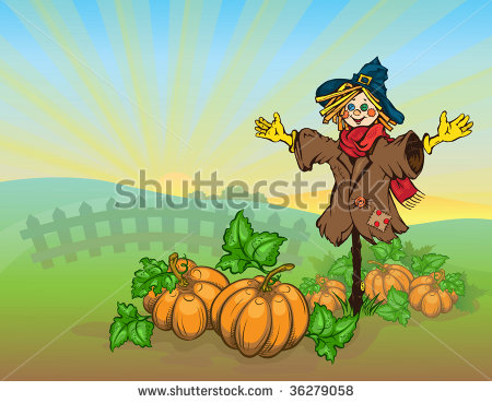 Vector Scarecrow And Pumpkins  Autumn Rural Landscape  The Dawn The