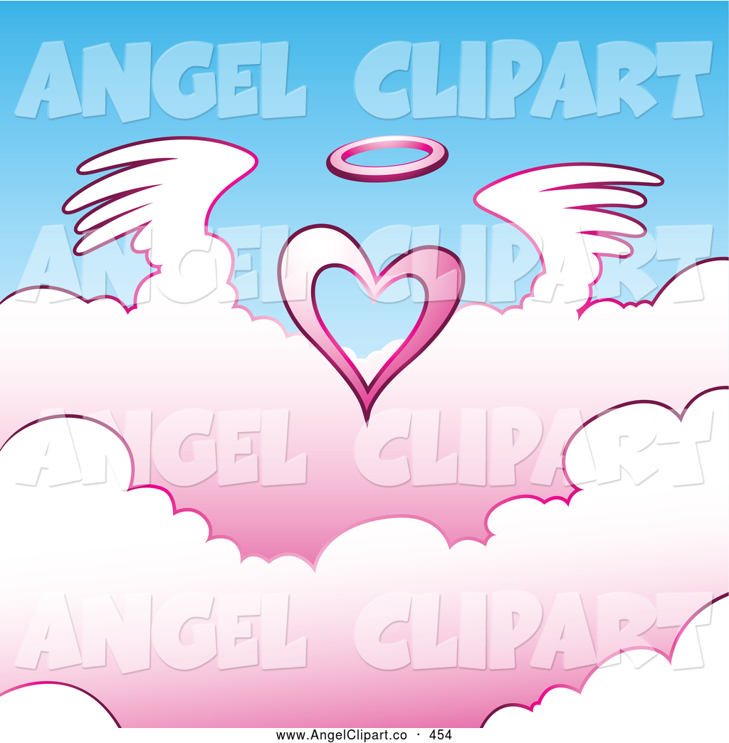 Angels Clipart Clip Art Of A Heavenly Angel Heart Above Pink Clouds
