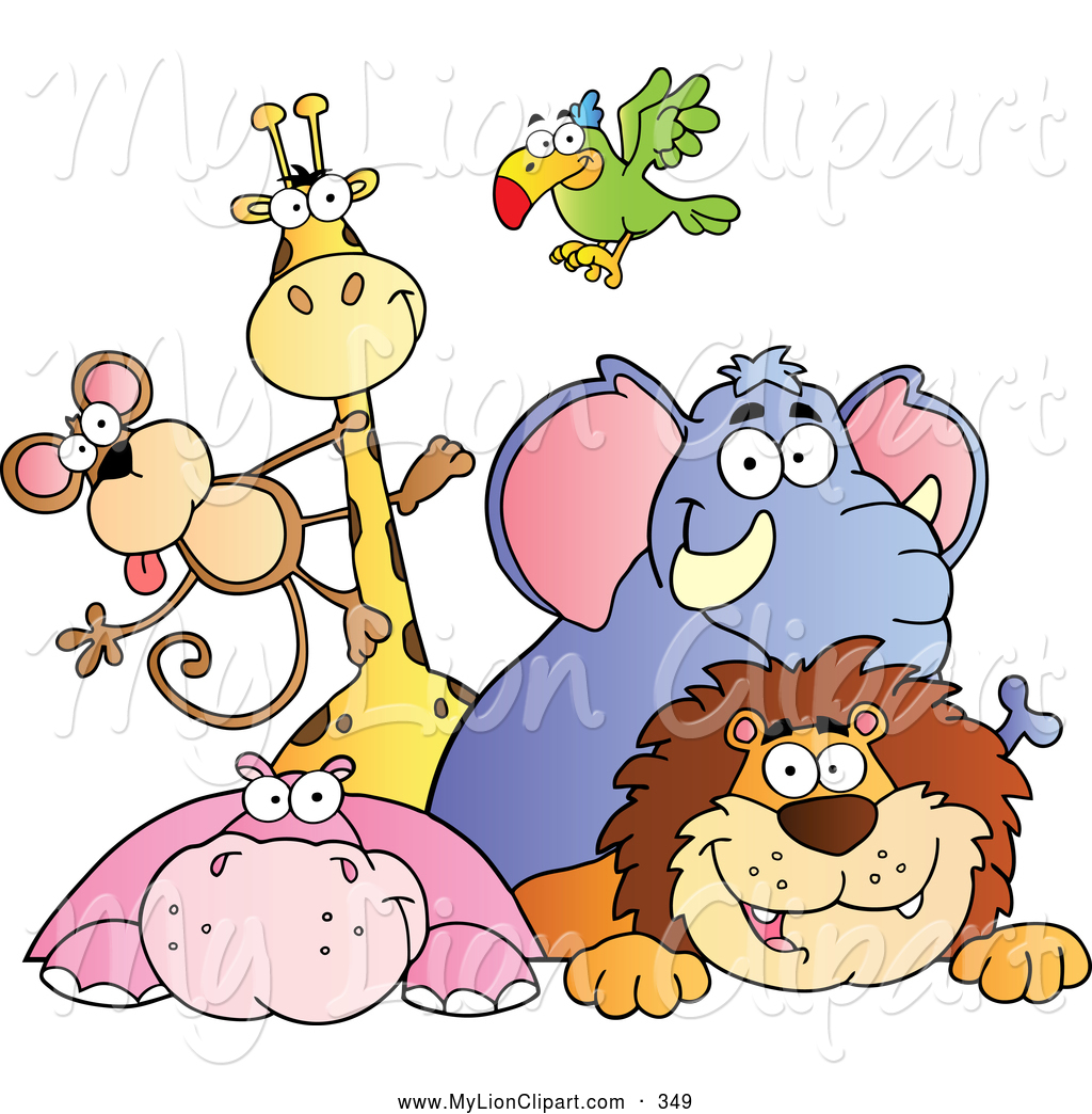 Animals Clip Art Clipart Of A Cute Group Of Zoo Animals Over A ...