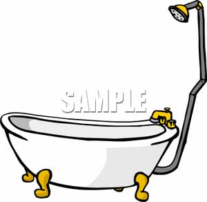 Classic Claw Foot Tub With A Shower   Royalty Free Clipart Picture