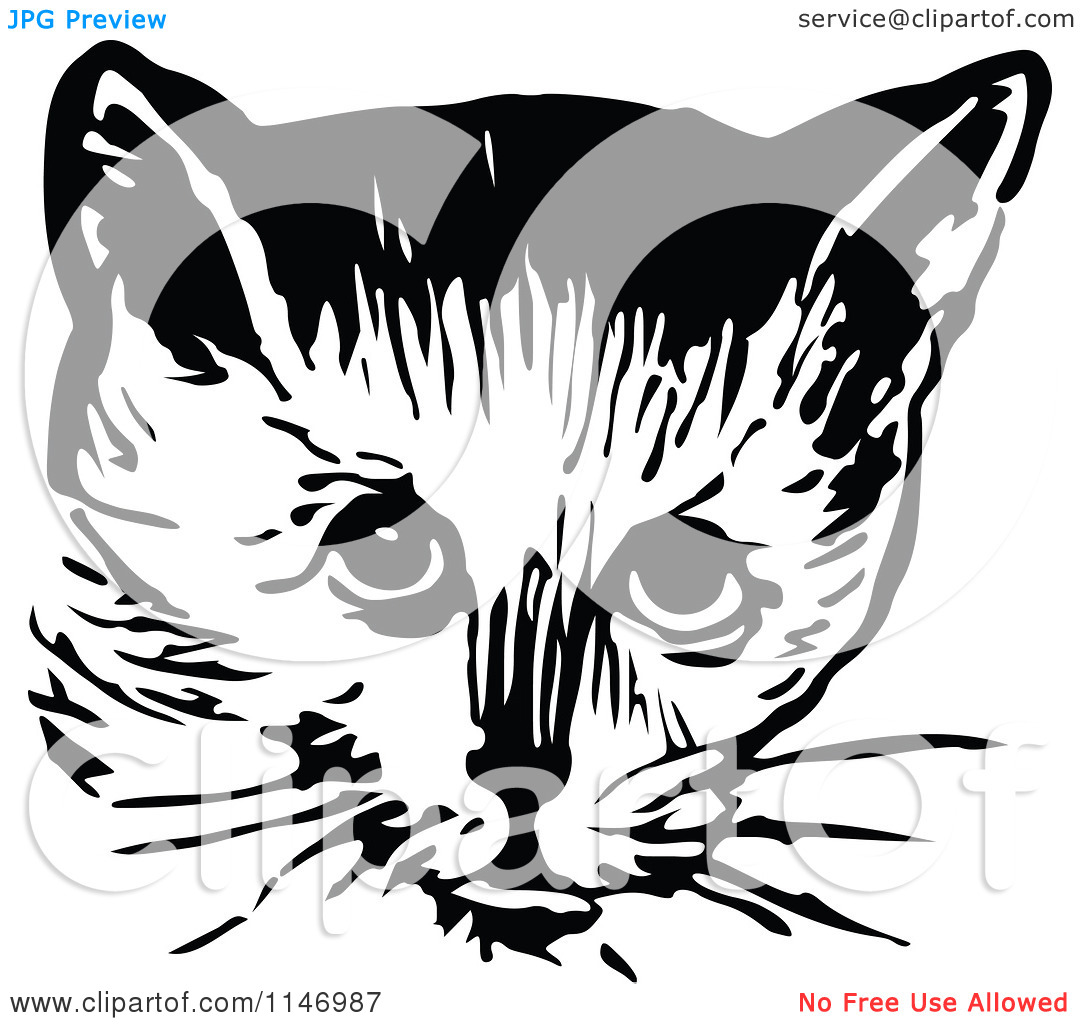Clipart Of A Retro Vintage Black And White Cat Face 2   Royalty Free