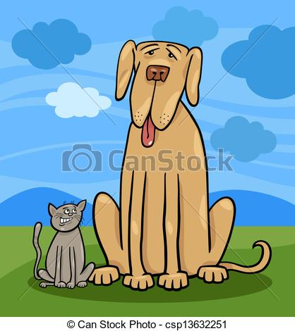Clipart Vector Of Small Cat And Big Dog Cartoon Illustration   Cartoon