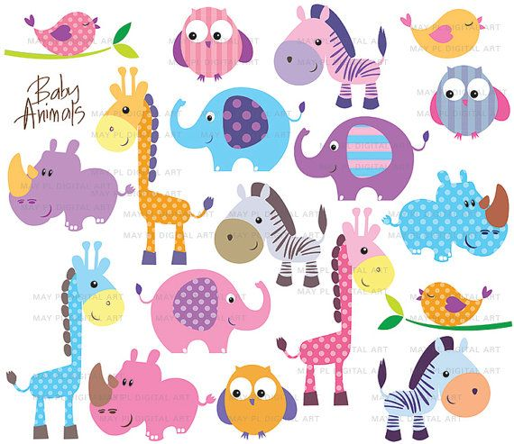 Cute Little Baby Animals Clipart Birthday Party      Cute Animal Cute