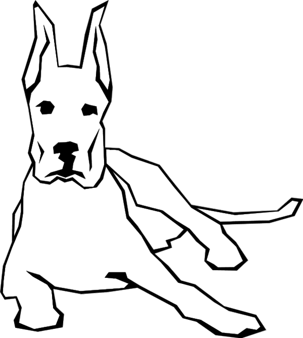 Dog Sitting And Staareing   Vector Clip Art