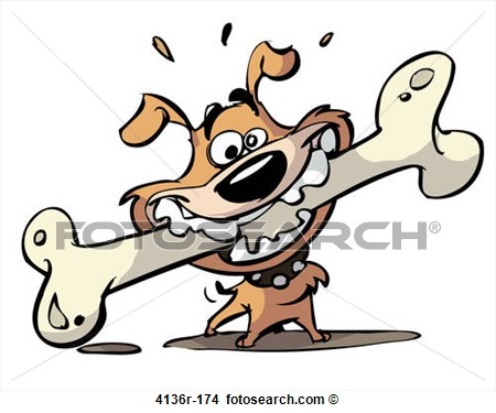 Drawing   Dog With Big Bone  Fotosearch   Search Clip Art