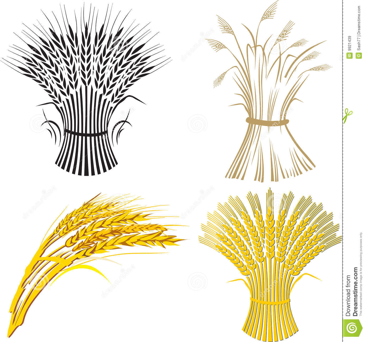 Illustration Of Four Wheat Sheafs