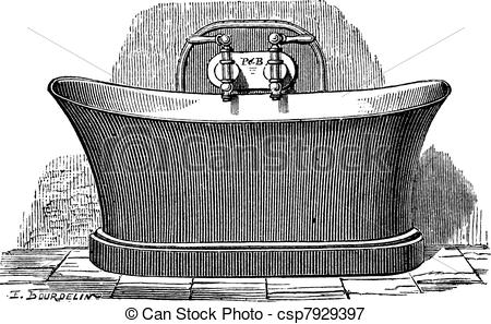 Old Engraved Illustration Of Copper Bathtub Which Is Established For