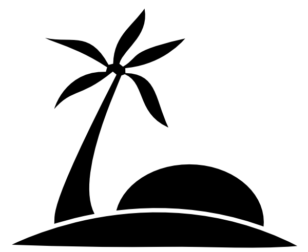 Palm Tree Clipart Black And White Palm Tree Beach W Sun Hi Png