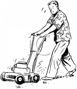 Retro Cartoon Of A Man Mowing The Lawn   Royalty Free Clipart Picture