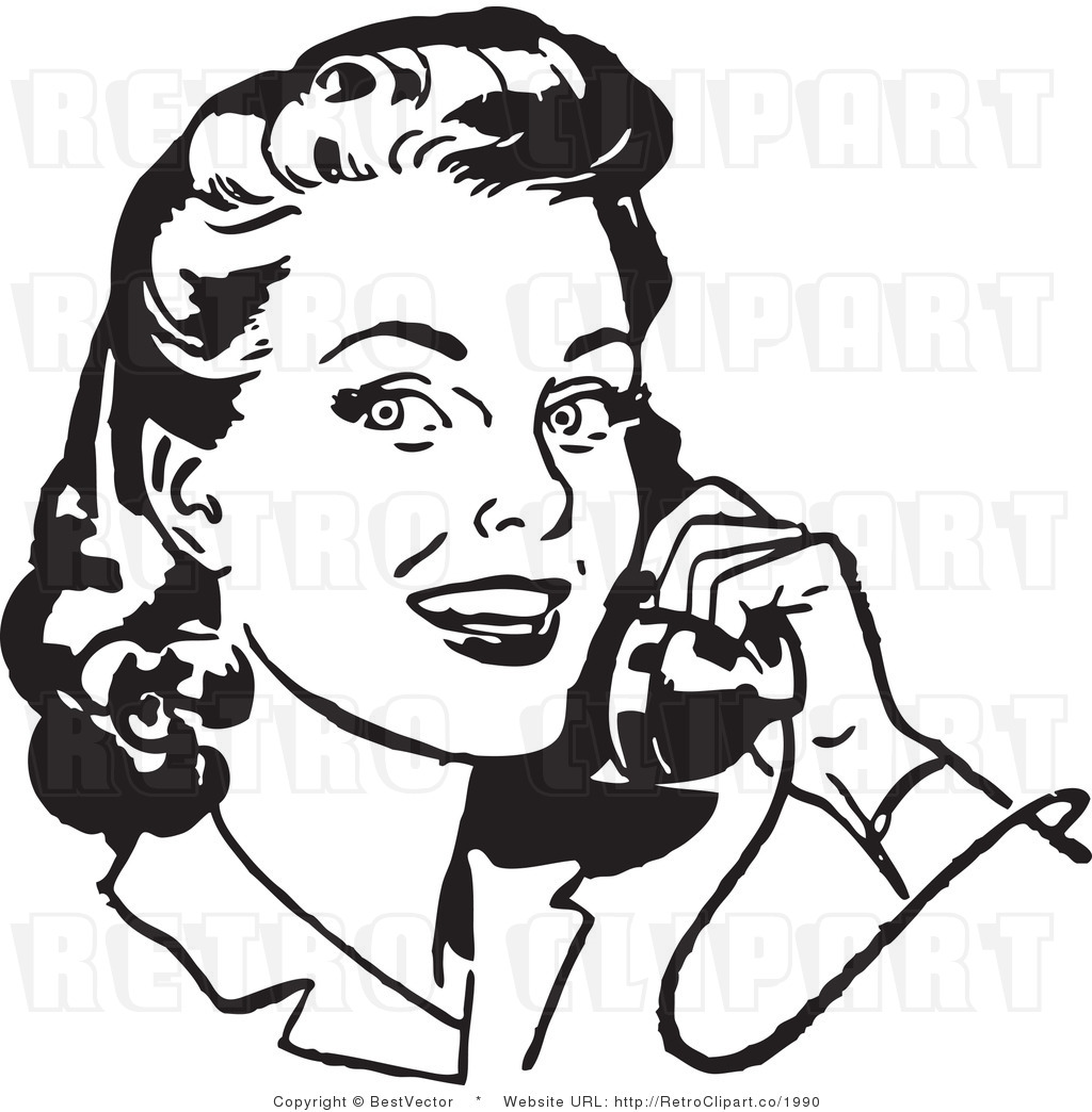 Royalty Free Black And White Retro Vector Clip Art Of A Young Woman
