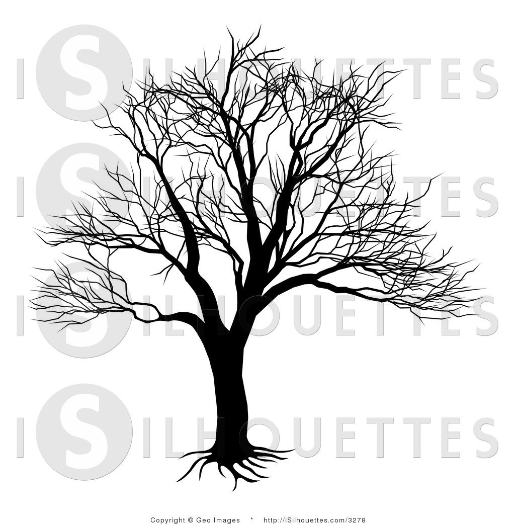 Silhouette Vector Clipart Of A Bare Tree And Roots By Geo Images