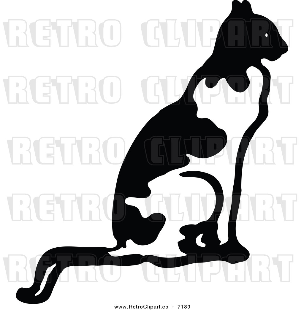 Vector Clipart Of A Retro Black And White Cat Sitting In Profile By