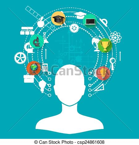 Vector Clipart Of Online Learning   Education Online Learning And