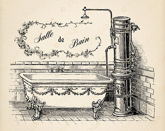 Vintage Bath Shower Salle De Bain F Abric Image Transfer   French