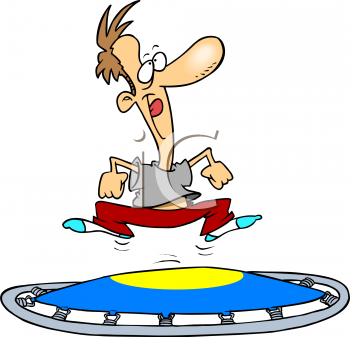 2322 1712 Cartoon Of A Man Exercising On A Trampoline Clipart Image