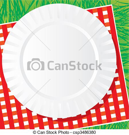 Background Vector Image Of A Plastic Dish For A Picnic On A Napkin And