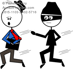 Clip Art Image Of A Stick Figure Businessman Running From A Thief