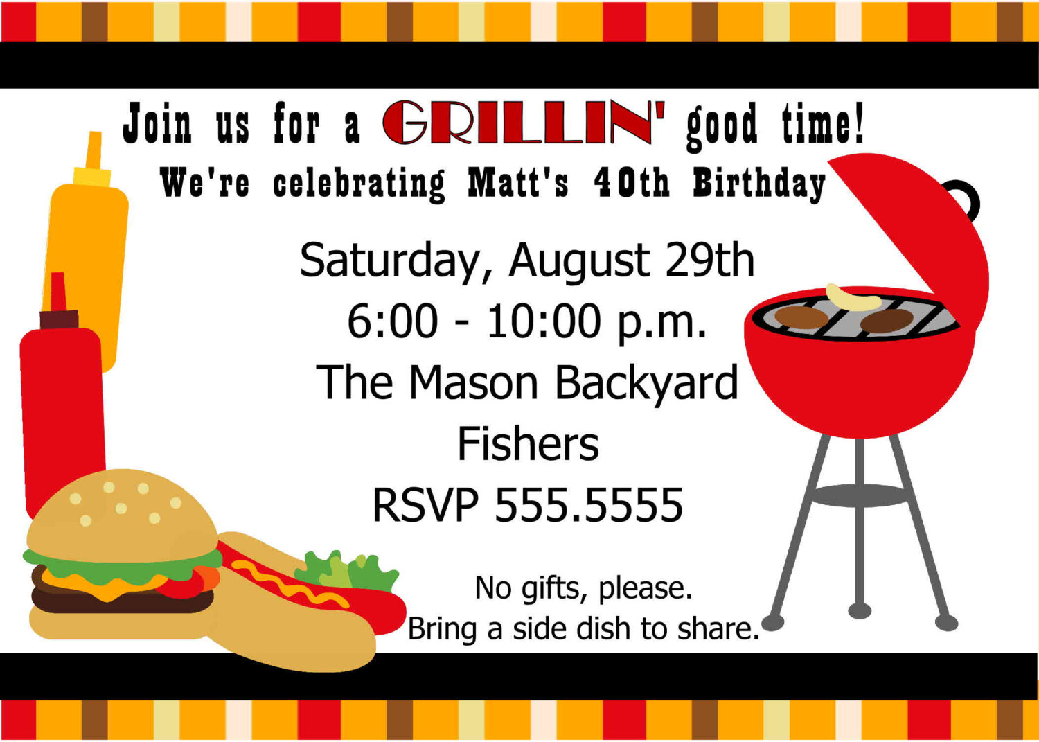 Digital Cookout Invitation You Print By Spencervillejunction