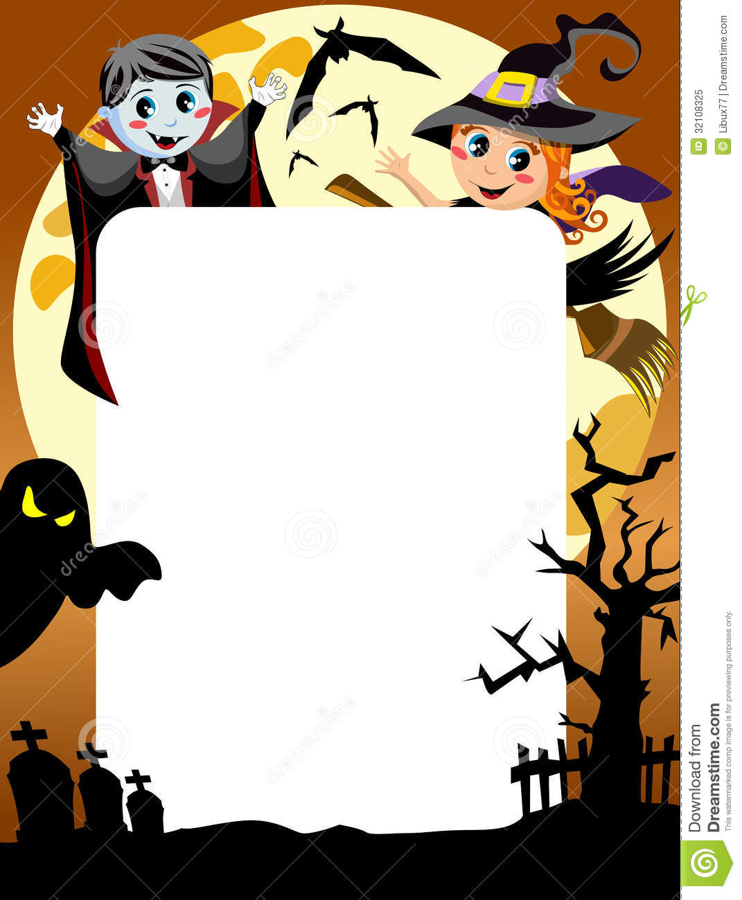 halloween photo frame post card or page for your scrapbook eps file