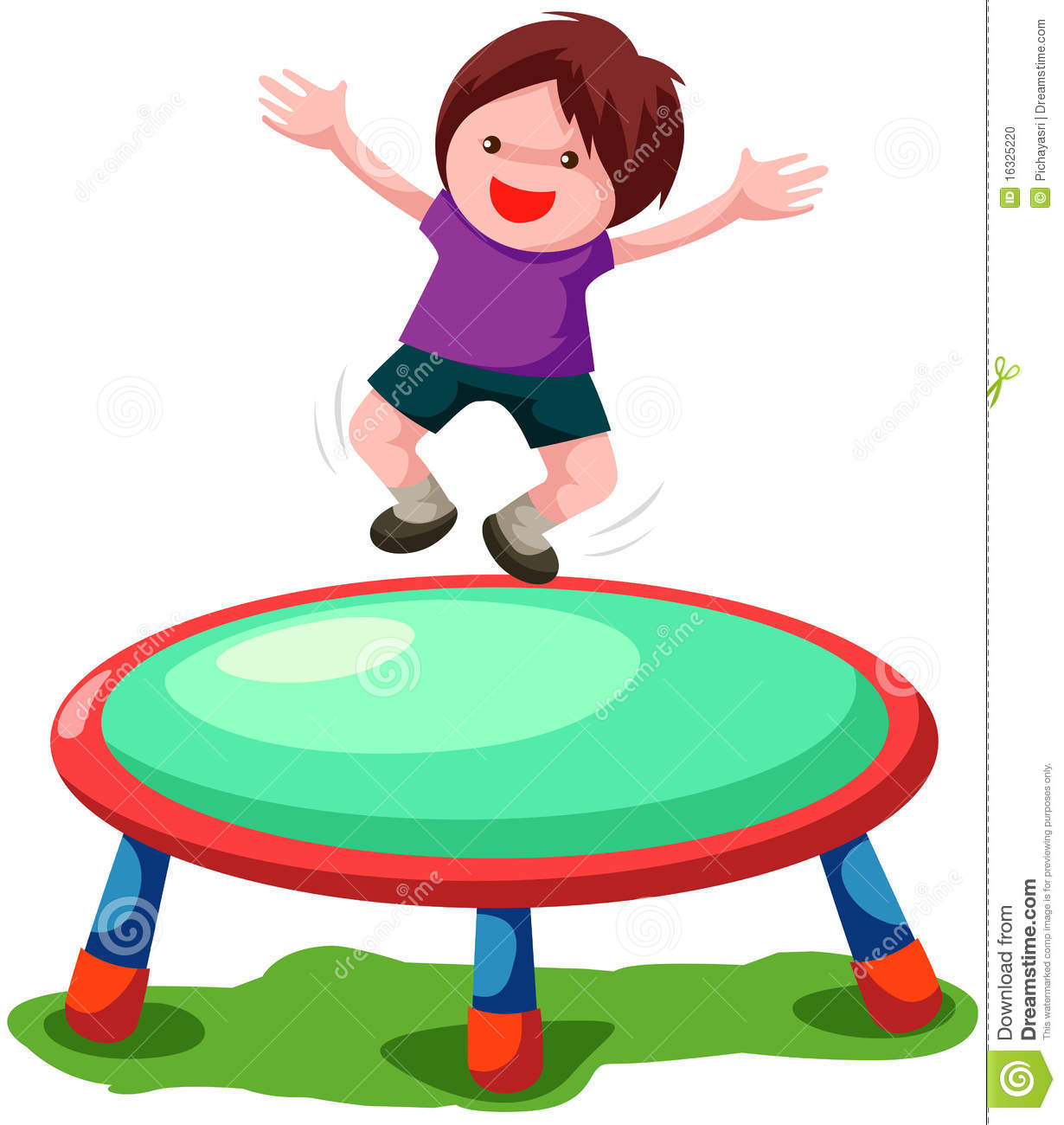 Jumping on trampoline clipart