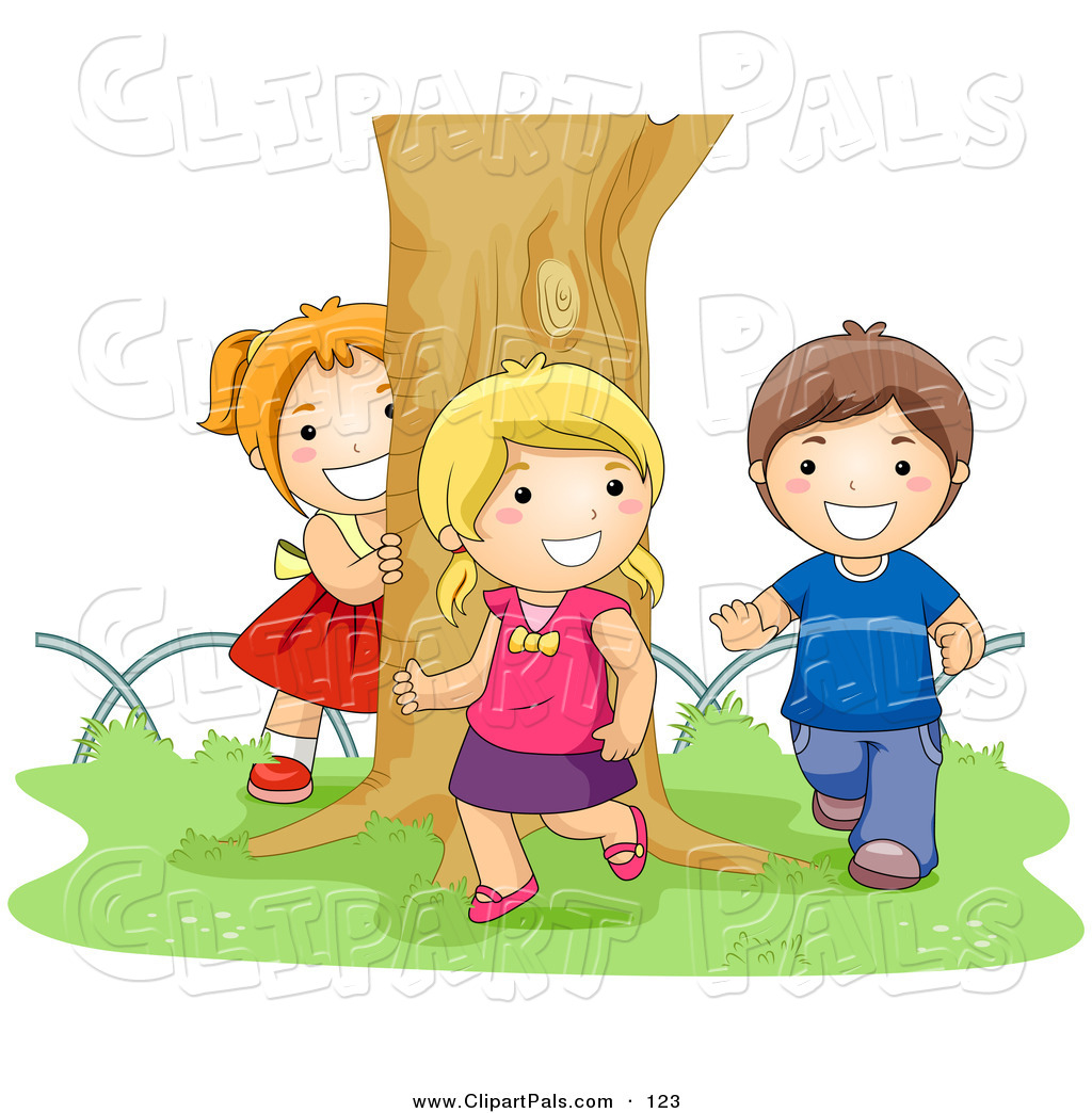 Larger Preview  Pal Clipart Of A Boy And Two Girls Chasing Each Other
