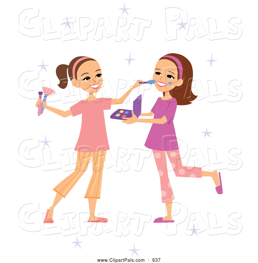 Girl Putting On Makeup Clipart Two Girls Clipart - Cl...