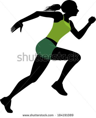 Profile Black Silhouette Of A Young Woman In A Bright Green Athletic