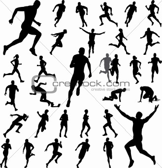 Running Silhouettes Collection Vector Keywords Athletes Athletic