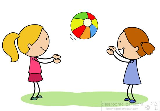 Two Girls Playing Catch With Bright Ball   Classroom Clipart
